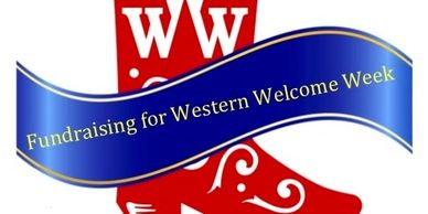 "The logo for Western Welcome Week that shows the WWW logo in reverse white on a red cowboy boot with a blue banner that says, ""Fundraising for Western Welcome Week."""