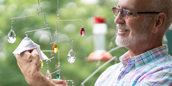 Cleaning Crystal Mobiles or Suncatchers is a breeze, just let the rain and snow take care of it.