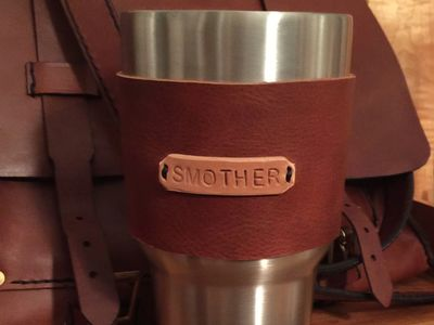 leather cup wraps, custom leather wraps with a monogram. Custom leather goods made in Raleigh, NC.