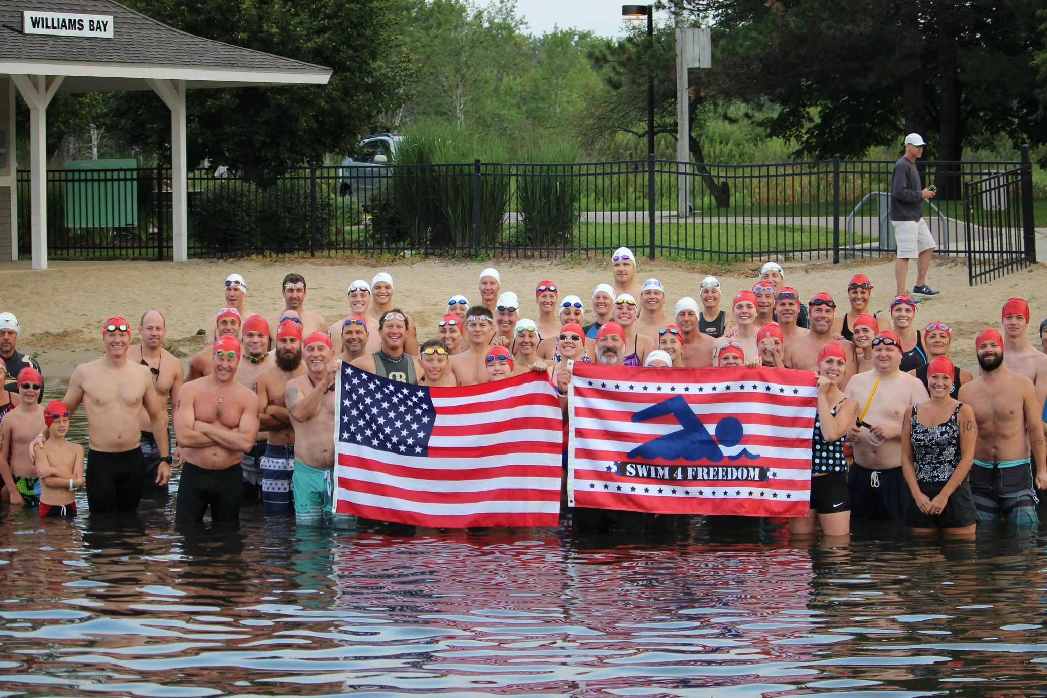 Swim4Freedom starting line up in Williams Bay, WI