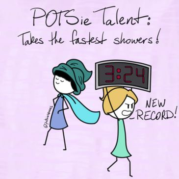 "An image of two stick-figure girls that says ""POTSie talent: Takes the fastest showers!"""