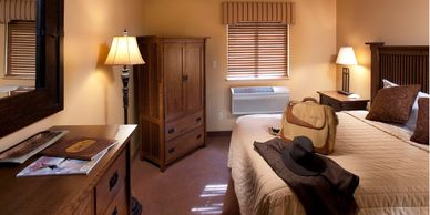 Single-occupancy guest rooms with private bathroom.