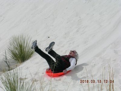 Sledding at White Sands.