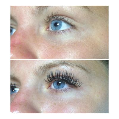 Classic Eyelash Extensions Before and After (Image Credit: Cassie Walsh)