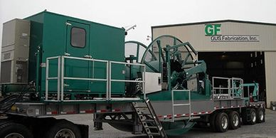 Green Coiled Tubing Reel Trailer