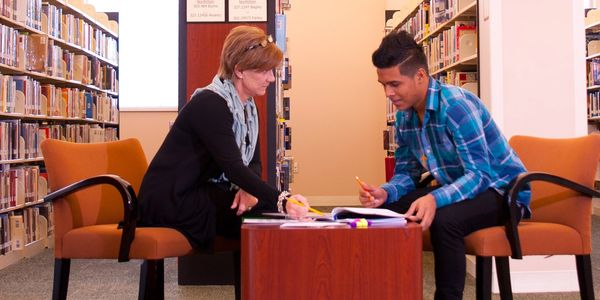 Woman teaching young man in library