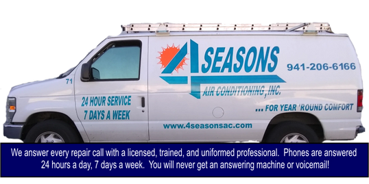 Four Seasons 24 hour emergency AC repair in Venice, FL, North Port, FL, Punta Gorda, FL, Rotonda, FL