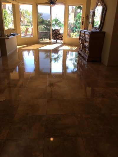 Beautifully cleaned and sealed granite tile floor in Rancho Mirage, CA.
