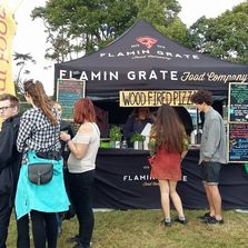 Authentic wood fired pizza street food caterer at music festival