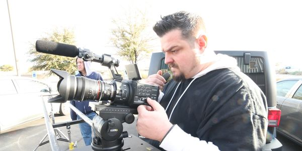 Andrei Mignea on movie shoot.