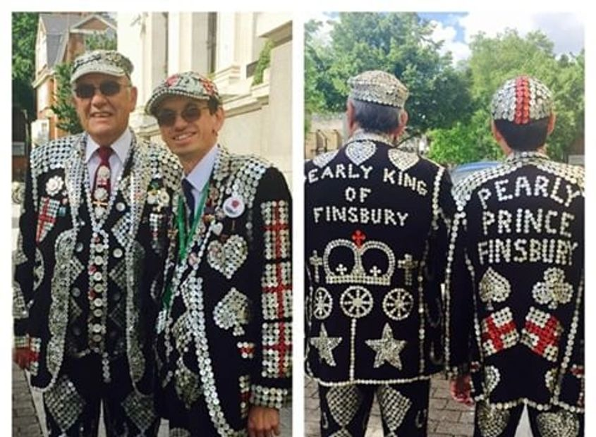 Father and son pearly king and prince of Finsbury of the London pearly kings and queens society