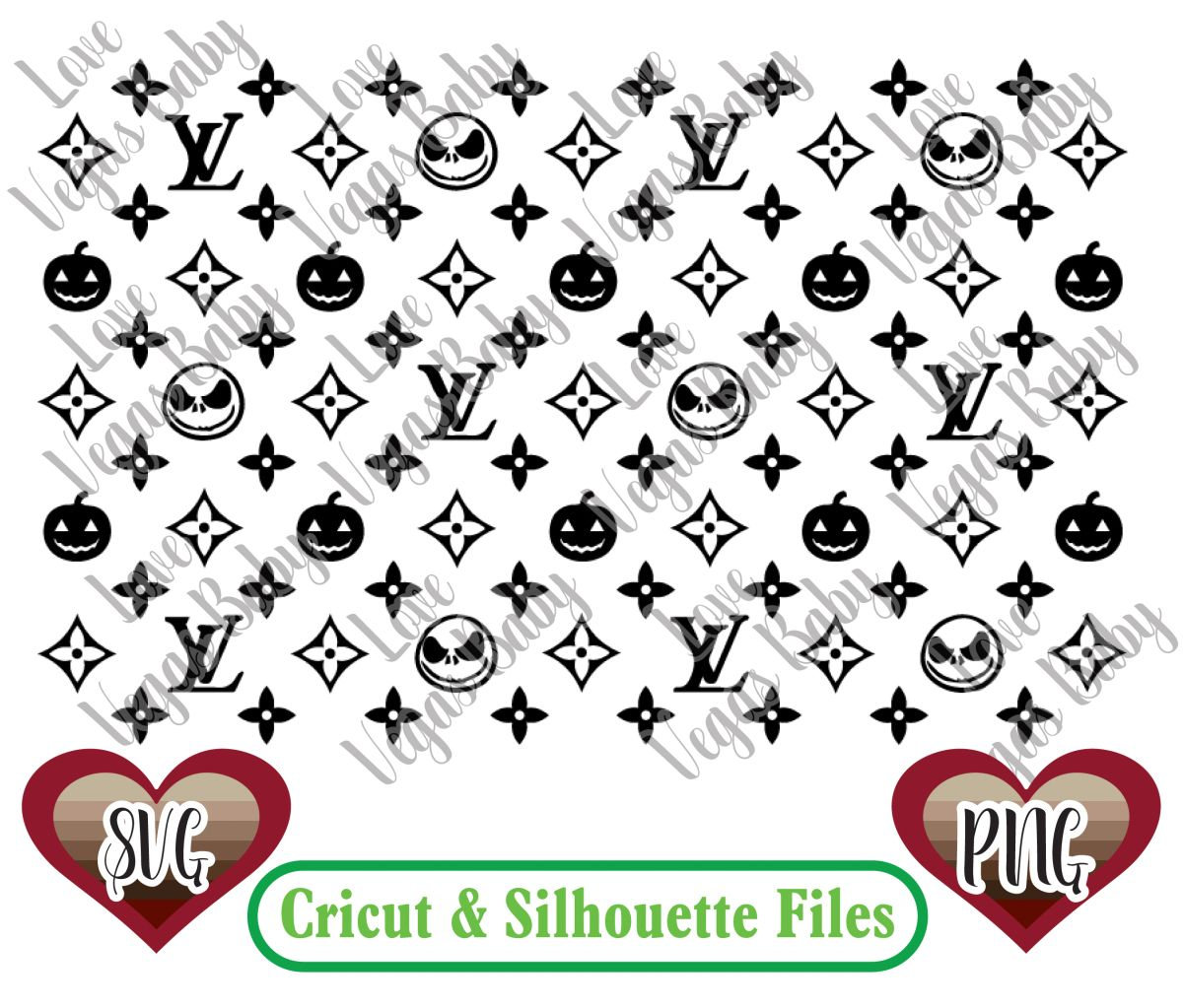 Nightmare Before Christmas Svg Louis Vuitton Inspired Pattern Svg Png