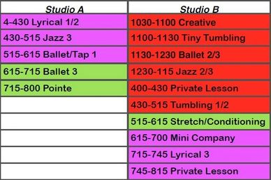 On Your Toes Dance Studio Monday Classes.  Lyrical, Jazz, Ballet, Tap, Pointe, Creative, Tiny Tumbli