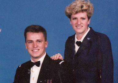 Carl Buhler with his sister at Valdosta State College Air Force ROTC program