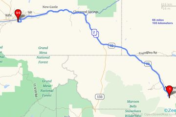 Rifle to Aspen route map. Vail Transportation Service, Vail/Aspen Transportation