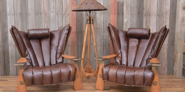 Full-Grain Leather Verite Chair with Palm wood