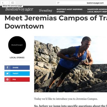 Featured on a local magazine, Boston Voyager, Jeremias explains his journey to build Suave Fitness through the success of his online training.
