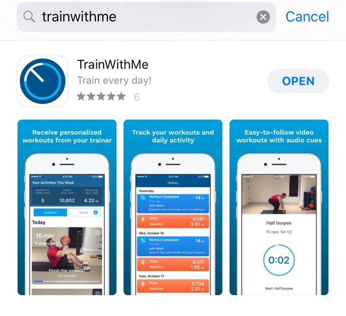 Connect with trainer using a FREE TRIAL link & download the app.