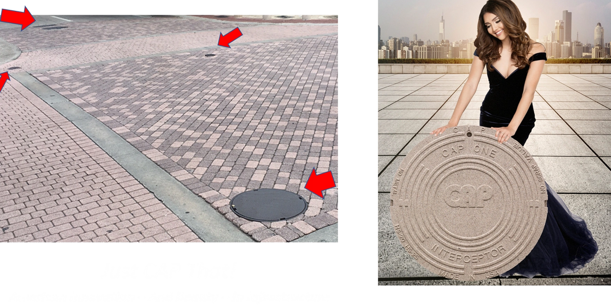 CAP STONE eliminates ugly manhole covers marks in pave stones