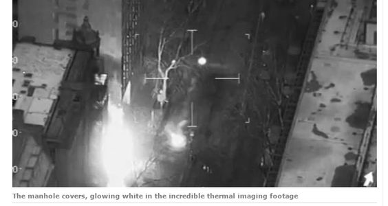 Thermal imaging captures iron manhole cover conductivity