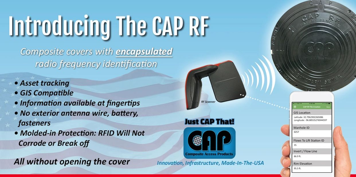 CAP RF - Composite Manhole Cover with RFID, GIS, Asset Tracking