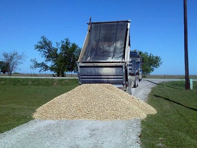 Rock, sand and gravel delivery using our dump truck.