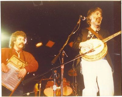 The author (left) with John McEuen at the old Parody Hall in KC in 1988.  Photo by Tom Hartnett
