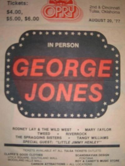 Newspaper ad with George Jones at the Tulsa Opry in 1977.   Riverrock was billed as an opener.