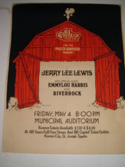 Concert poster circa 1979, promoting Jerry Lee Lewis, Emmylou Harris and Riverrock.
