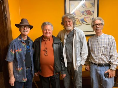 L-R Les Thompson, Leroy Van Dyke, John McEuen and Dan Smith.  Photo by Gladys Van Dyke.