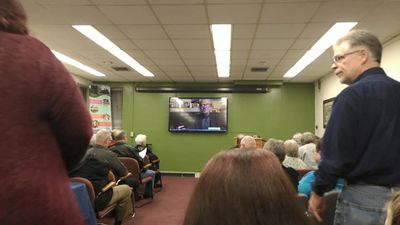 Missouri Music Hall of Fame President, Anthony Glise, Skype from France. Photo by Dan Smith