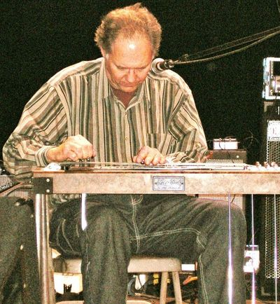 John Mumma on the pedal steel guitar at Liberty Hall, Lawrence KS, Photo by Mike Daugherty