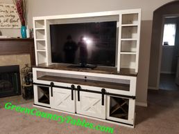 Sliding barn door console entertainment center
