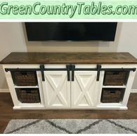 Sliding or Hinged Barn Door Console Entertainment Center Buffet Sideboard baskets, decor, components