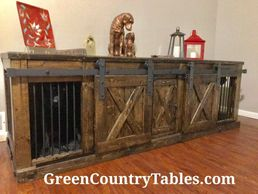 Handcrafted Rustic Dog Kennels with hinged or sliding doors.  Dog crates custom made.