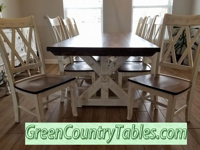 Husky Farm X Farm Table w/ Double X back chairs.  Finished in Kona & polished ivory paint distressed