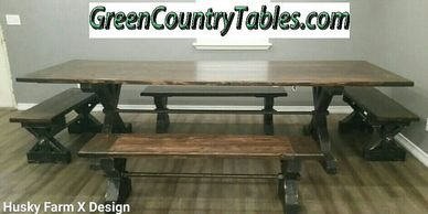 Add Threaded Rod / All Thread to your table & bench to give it more of an Farmhouse industrial look