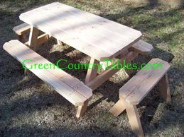 Kids picnic table with attached benches