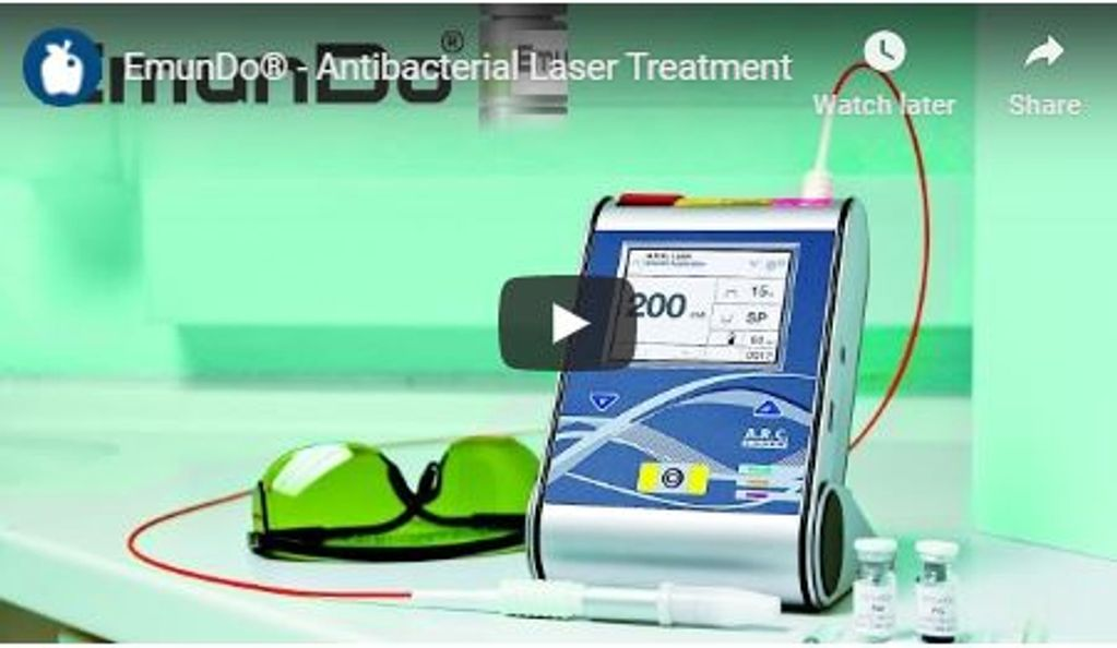 EmunDo Antibacterial Laser Treatment video showing veterinarian applications with the FOX 810 Laser