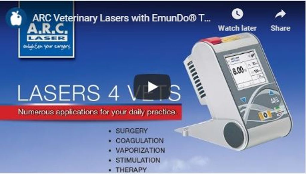 Veterinary Lasers with EmunDo therapies video on surgeries, coagulation, stimulation, wound therapy.