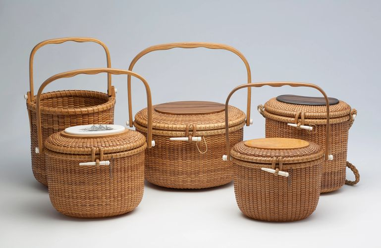 Group of Nantucket lightship baskets by Gerald L. Brown