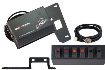 6-Switch SPOD Kit with wiring harness and distribution panel for Jeep JKU