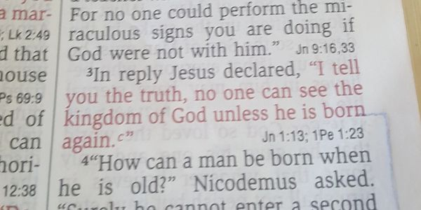 "John 3:3 NIV ""I tell you the truth, no one can see the kingdom of God unless they are born again"""