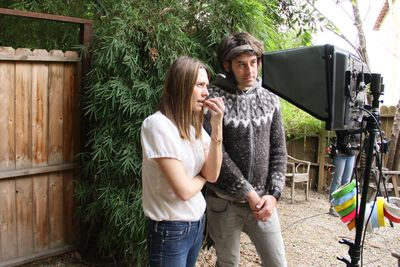 Jessica Makinson directing SKIN. (with cinematographer Ben Kasulke)
