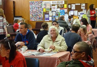 Members enjoying lunch at our Weekly drop-in