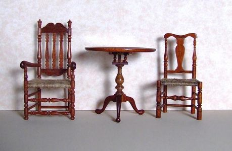 Queen Anne chairs and Chippendale chair in miniature 1/12th scale