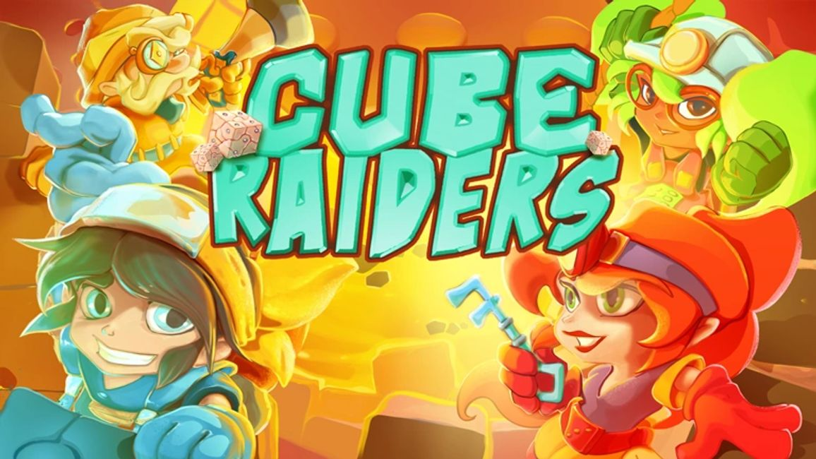 "The title of the game ""Cube Raiders"" is shown with the 4 main characters in the different corners."