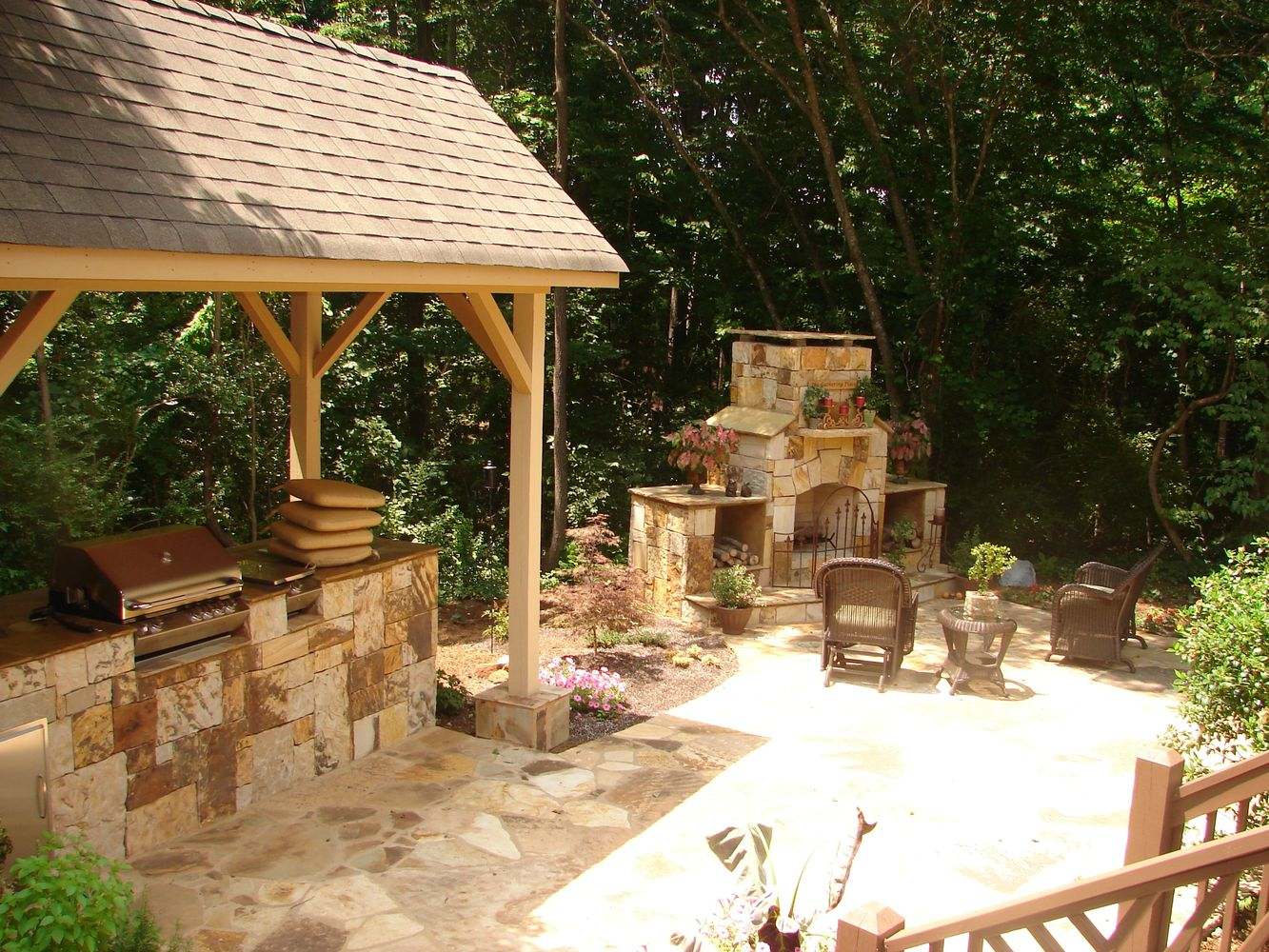 stone outdoor living space