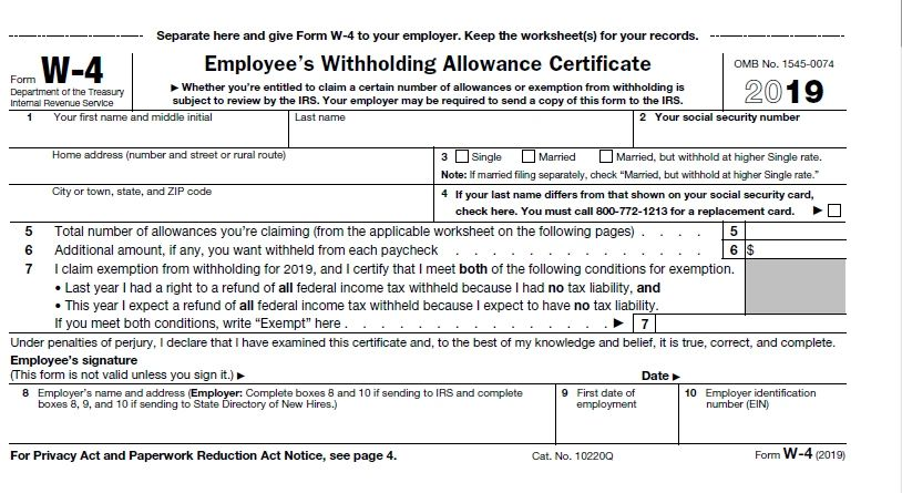 The Importance Of Irs Form W 4 Withholding Allowance Certificate