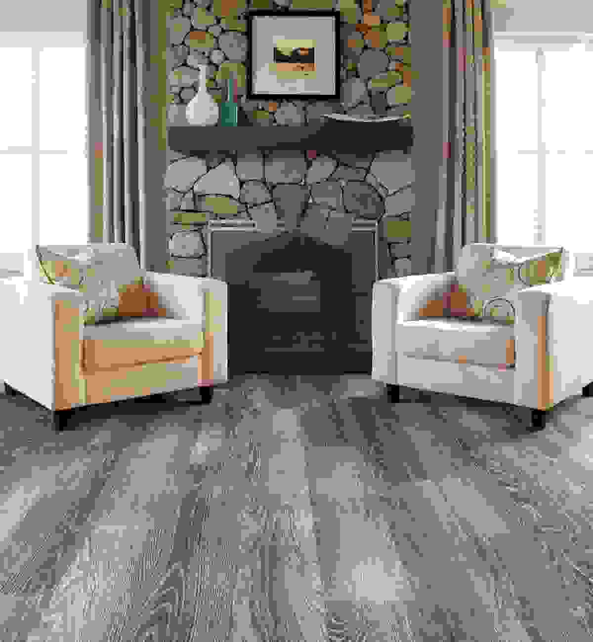 Varied smoky gray woodgrain laminate plank flooring